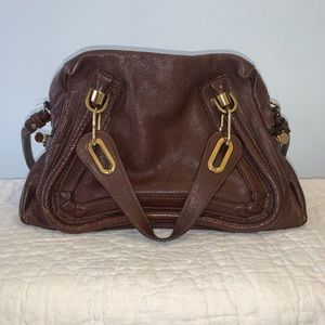 Chloe Paraty Medium Satchel Chocolate Brown